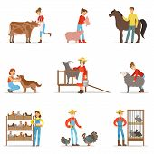 Breeding animals farmland. Farm profession worker people breeding livestock. Set of colorful cartoon detailed vector Illustrations isolated on white background poster