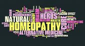 Homeopathy - unconventional medicine with controversies. Word cloud sign. poster