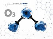 Molecule of ozone with with tehnology background. 3d Illustration poster