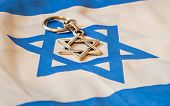Star of David, Jewish religion symbol on Israel flag stock image. Jewish identity, Bar mitzvah, Israel Independence Day, Zionism vs. Judaism, Jewish vs. Democratic. Jewish hexagram. Abstract kosher image. poster