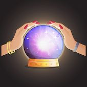 Illustration of a gypsy fortune teller working and making predictions with a magic globe shiny speare with thunders and supernatural glow. poster