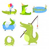 Cartoon green crocodile funny predator and australian wildlife river reptile carnivore alligator scales teeth flat vector illustration. Tropical africa safari zoo character crocodylus. poster