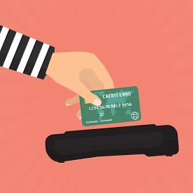 Hacker theft hand holding a credit card fraud for paying with credit card reader. Vector illustration business data privacy concept.