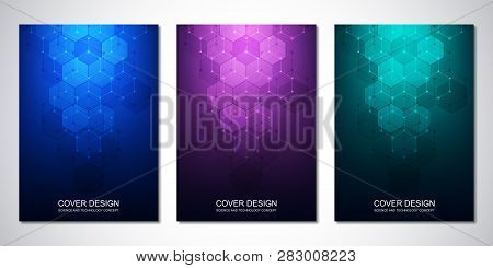 Vector Templates For Cover Or Brochure, With Hexagons Pattern. Hi-tech Background Of Molecular Struc