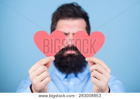 Happy In Love. Love Is Amazing. Man Bearded Hipster With Heart Valentine Card. Celebrate Love. Guy A