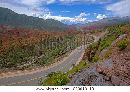 The Famous Road Ruta 40 Trough The Beautiful Canyon Of The Cuesta De Miranda, La Rioja, Argentina, S