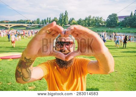 Hipster Happy Celebrate Event Picnic Fest Or Festival. Cheerful Fan Love Summer Fest. Man Bearded Hi