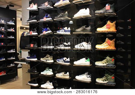 St. Petersburg, Russia - January 9, 2019: Adidas Shoes On Shelves At Official Adidas Store. Famous S