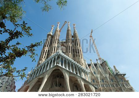 Barcelona, Spain - September 23, 2018: This Impressive Cathedral Was Originally Designed By Antoni G