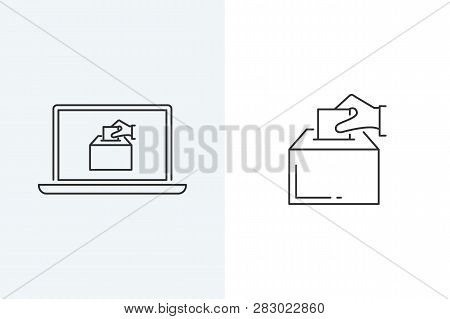 Vector Illustration Of A Hand Putting A Voting Paper In The Election Box. Online Voting