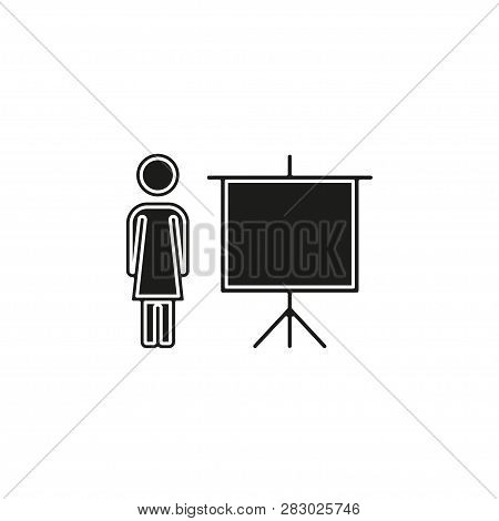 Teacher Icon - Teacher With Board - Teaching Board Icon - Vector School Or Classroom Sign And Symbol