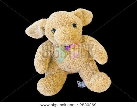 Long Eary Bear Toy isolated on black background easy to manipulate poster