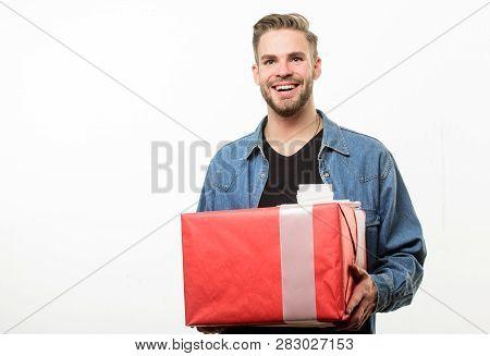 Gift For Girlfriend. Romantic Gift. Hipster Denim Shirt Hold Gift Box White Background. Love And Rom