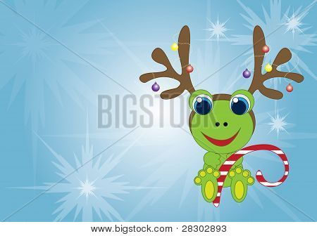 Holiday frog with reindeer antlers and holding a candy cane poster