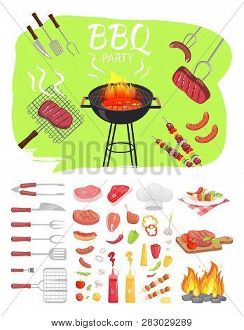 Bbq Party Poster Barbeque. Grilling Meat, Skewers Brochettes And Roasted Sausages On Fork. Flatware