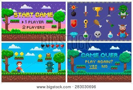 Pixel Art Game In 8 Bit Character Life Info And Scenery Vector. Isolated Icons Set Trophy And Sword,
