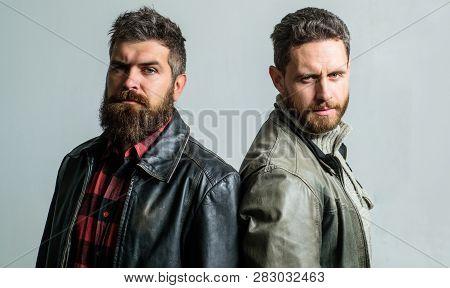 Feel Confident In Brutal Leather Clothes. Brutal Men Wear Leather Jackets. Men Brutal Bearded Hipste