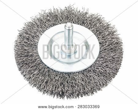 Crimped wire bench grinder wheel on white poster