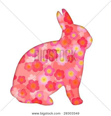 Spring Season Cherry Blossom Flowers Bunny Rabbit Silhouette Illustration Isolated on White Background poster