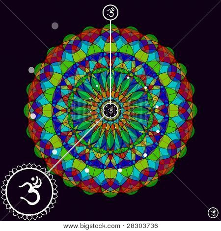 Mandala Ohm design, vector