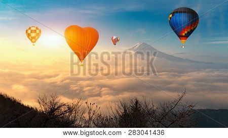 Colorful Hot-air Balloons Flying Over The Mountain, Colorful Hot Air Balloons Flying Over Mount Fuji