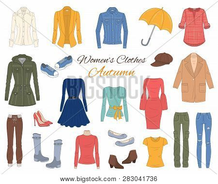 Female Fashion Set. Women Clothes Collection. Autumn Outfit Jeans Jacket, Parka Coat, Cardigan, Dres