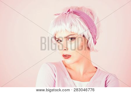 Retro Woman In Pink Color. Glamour Fashion Model. Woman. Summer Fashion Style. Beauty Salon And Hair