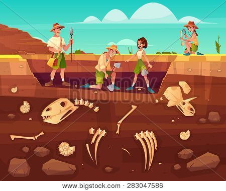 Archaeologists, Paleontology Scientists Working On Excavations, Digging Soil Layers With Shovel, Exp