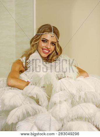 Fashionable Girl With Elegant Look. Sensual Woman In Elegant Dress. Its Pleasure Of Elegance.
