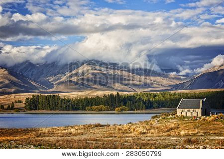 Lake Tekapo And The Church Of The Good Shepherd, Canterbury, New Zealand, And The Two Thumb Range. T