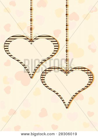Vector illustration of two hanging heart shapes with copy space on colorful seamless heart shapes background for Valentines Day. poster