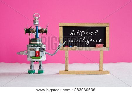 Artificial Intelligence And Machine Learning Cocnept. Funny Robotic Futuristic Character, Black Chal