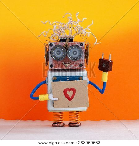 Robot Holds Greeting Card Love Heart Symbol. Valentines Day Romantic Message For All Lovers From Rob