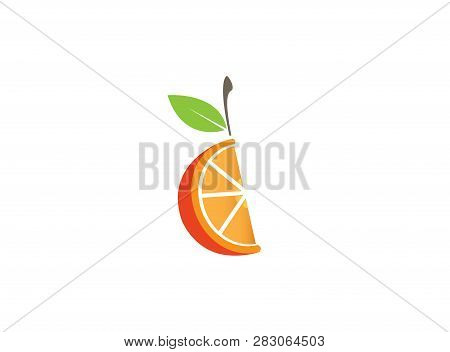 Orange Half Of A Piece And Pulp With Leaf For Logo Design
