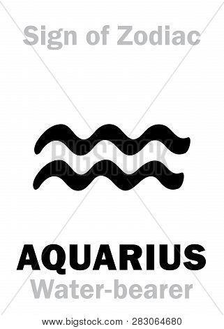 Astrology Alphabet: Sign Of Zodiac Aquarius (the Water-bearer). Hieroglyphics Character Sign (single