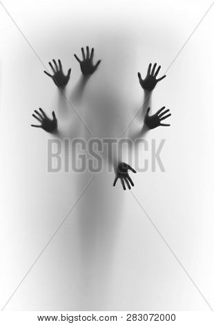 Blurred Human Body Shape Spirit Stands Behind Diffuse Surface, Six Hands Can Be Seen Sharply, Finger