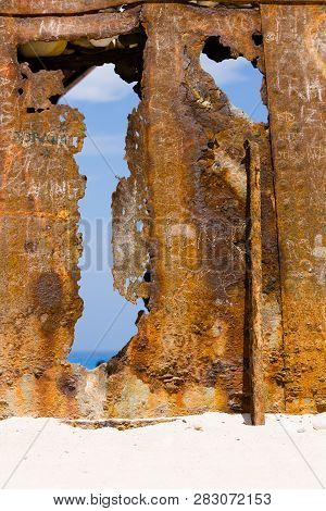 Wall Of Rust, Closeup Of A Ship Wreck At Sandy Beach, Zakynthos, Greece.