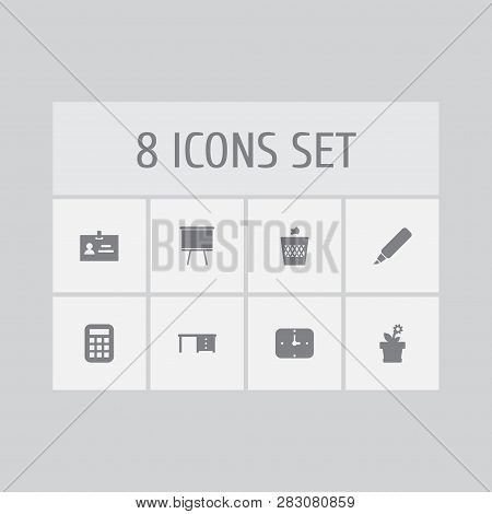 Set Of 8 Workspace Icons Set. Collection Of Wastebasket, Badge Id, Desk And Other Elements.