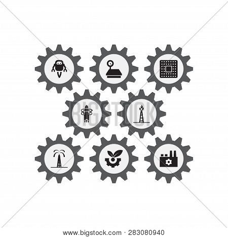 Set Of 8 Industry Icons Set. Collection Of Aerospace, Manufacturing, Gas Tower And Other Elements.