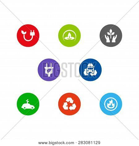 Set Of 8 Bio Icons Set. Collection Of Burnable, Car, Green And Other Elements.