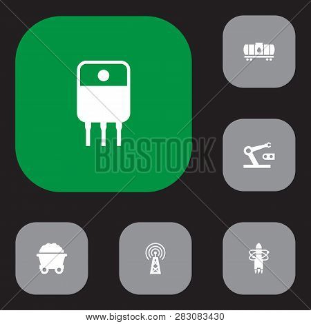 Set Of 6 Industry Icons Set. Collection Of Cistern, Transistor, Robot And Other Elements.