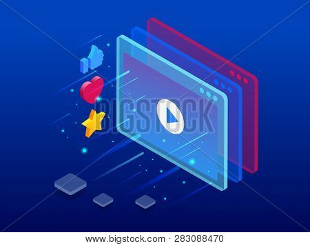 Isometric Online Video Training Or Tutorial. E-learning By The Webinar Training. Online Education At