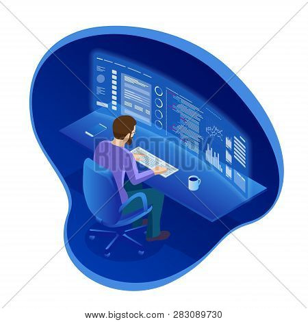 Isometric Programmer Working In A Software Develop Company Office Or Businessman Trading Stocks. The