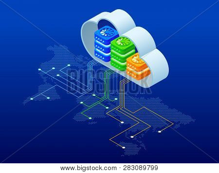 Isometric Modern Cloud Technology And Networking Concept. Web Cloud Technology Business. Internet Da