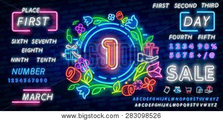 Neon City Font Sign Number 1, Signboard One. Vector Illustration. Geometric Shapes And Neon Glow Aga