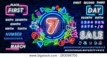 Number Seven Symbol Neon Sign Vector. Seventh, Number Seven Template Neon Icon, Light Banner, Neon S