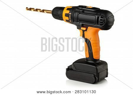 Cordless Drill, Screwdriver And Titanium Nitride Coated Drill Bit On White Background