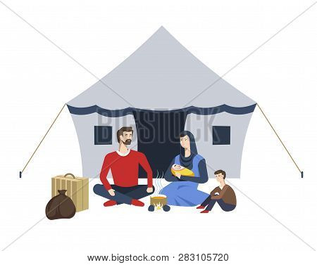 Refugees Camp Arab Family And Tent Soup On Campfire