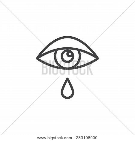 Allergic Eye Cry, Tear Line Icon. Linear Style Sign For Mobile Concept And Web Design. Allergic Reac