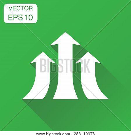 Arrow Growing Graph Icon. Business Concept Progress Arrow Grow Pictogram. Vector Illustration On Gre